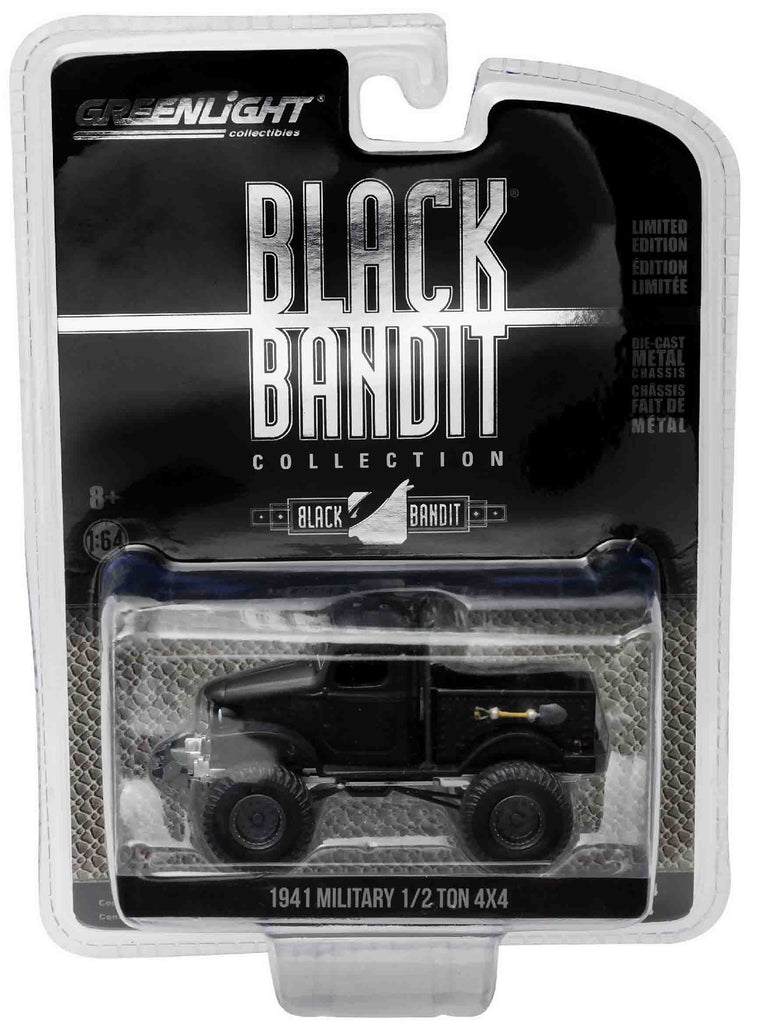 1941 Military 1/2 Ton 4x4 Black Bandit 1:64 Diecast Model