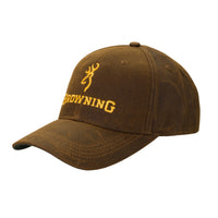 Browning Dura-Wax Ball Cap w/ Buckmark Logo - Brown - 3084121