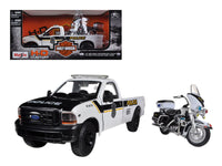 1999 Ford F-350 Super Duty Pickup Truck 1:27 and 1:24 2004 Harley Davidson FLHTPI Electra Glide Motorcycle Police - Maisto - 32186BKWH