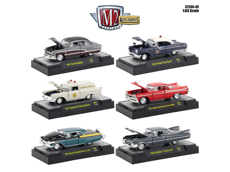 Auto Thentics Release 49 Six Piece Set in Display Cases 1:64 Diecast Models
