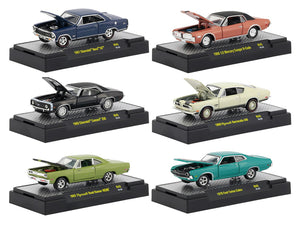 Detroit Muscle Six Car Set Release 45 In Display Cases 1:64 Diecast Models