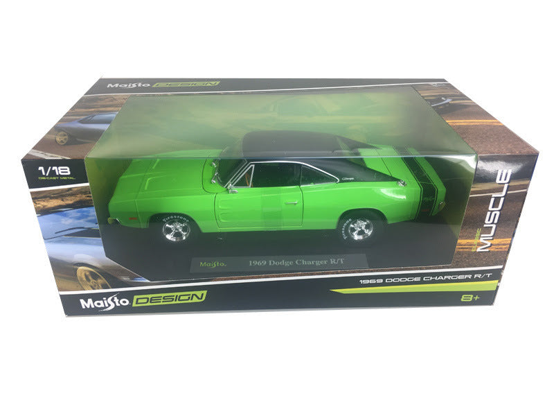 1969 Dodge Charger R/T Green with Black Top 1:18 Diecast Model