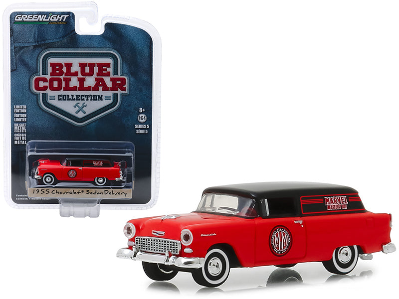 1955 Chevrolet Delivery Sedan Marvel Mystery Oil 1:64 Model - Greenlight - Blue Collar Series 5 - 35120A