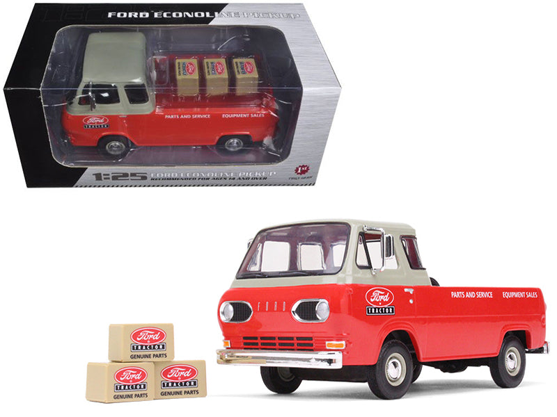 1960's Ford Econoline Pickup Red with Boxes 1:25 Diecast Model