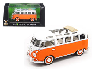 1962 Volkswagen Microbus Bus Van Open Roof Orange 1:43 Diecast Model