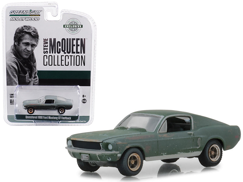 1968 Ford Mustang GT Fastback Green Unrestored Steve McQueen 1:64 Diecast Model