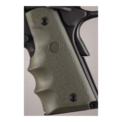 Hogue Colt & 1911 Government Grip w/ Finger Grooves Olive Drab Green - 45001