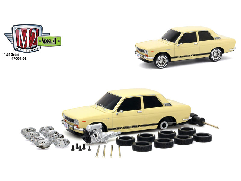 1970 Datsun 510 Cream with Black Stripes Model Kit 1:24 Diecast Model