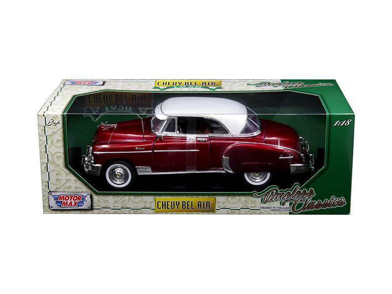 1950 Chevrolet Bel Air Burgundy with White Roof 1:18 Diecast Model