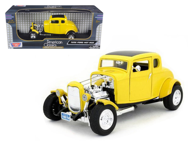1932 Ford Coupe Hot Rod Yellow Hard Top 1:18 Diecast Model - Motormax - 73172YL