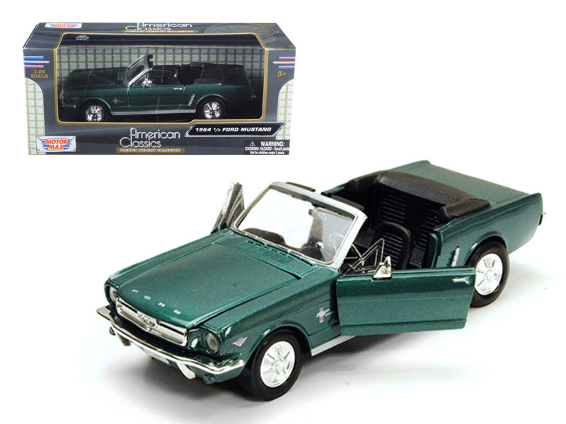1964 1/2 Ford Mustang Convertible Green 1:24 Diecast Model