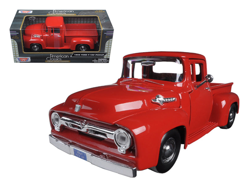 1956 Ford F-100 Pickup Red 1:24 Diecast Model