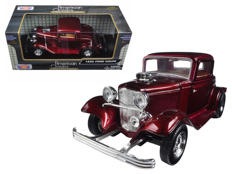 1932 Ford Coupe Burgundy 1:24 Diecast Model - 73251RD