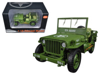 US Army WWII Jeep Vehicle Green 1:18 Diecast Model