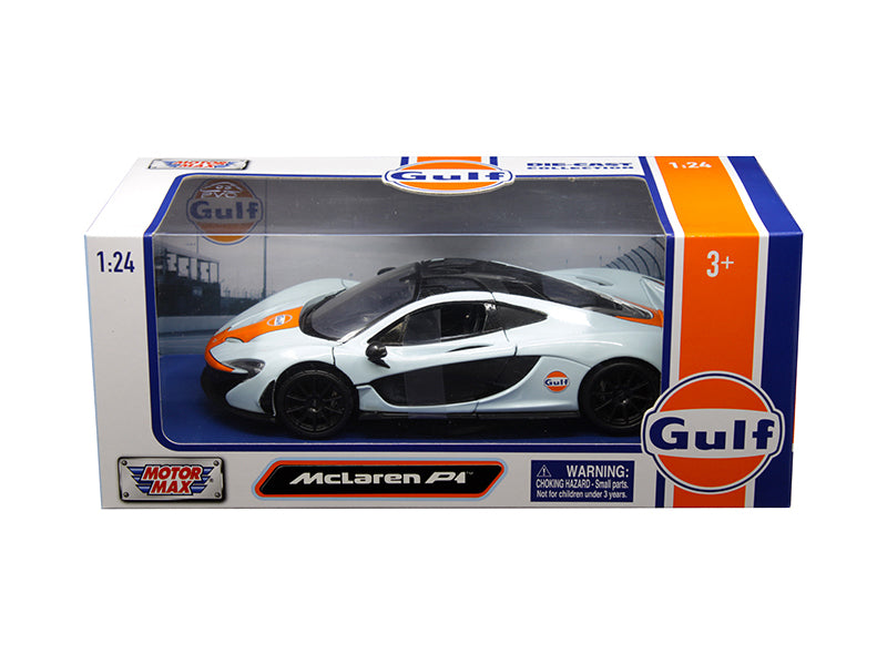 McLaren P1 Light Blue with Orange Stripe Gulf Oil 1:24 Diecast Model