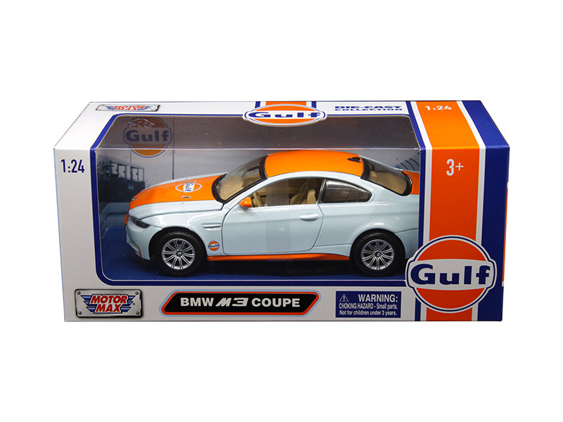 BMW M3 Coupe Light Blue with Orange Stripe Gulf Oil 1:24 Model