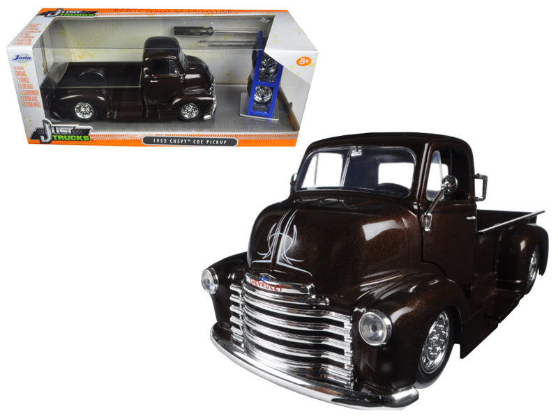 1952 Chevrolet COE Pickup Truck Brown with Extra Wheels 1:24 Model