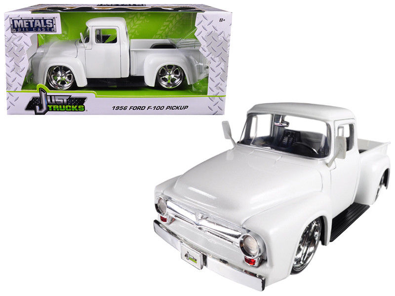 1956 Ford F-100 Pickup Truck White Just Trucks 1:24 Diecast Model