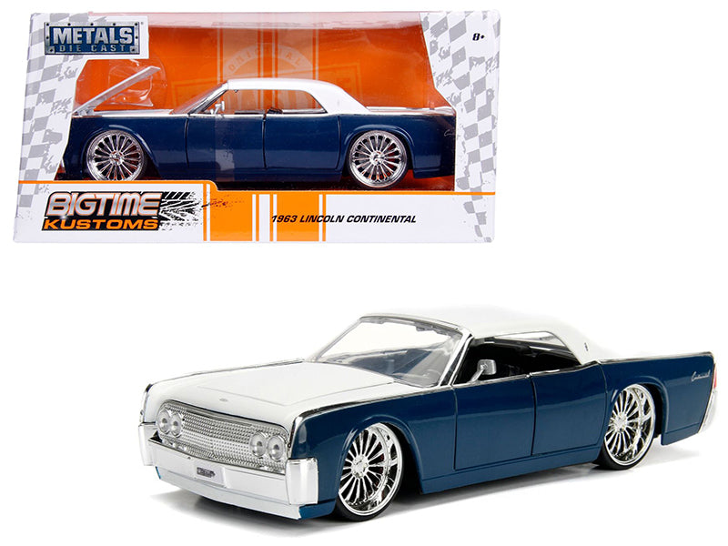 1963 Lincoln Continental Navy Blue with White Top 1:24 Diecast Model