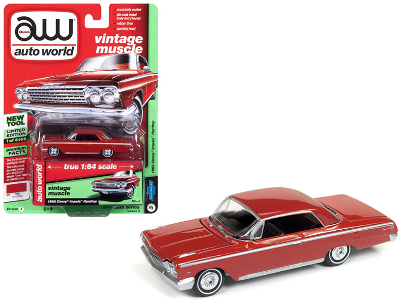 1962 Chevrolet Impala 1:64 Diecast Model Roman Red Limited Edition to 4,400 pieces - Auto World - AWSP008