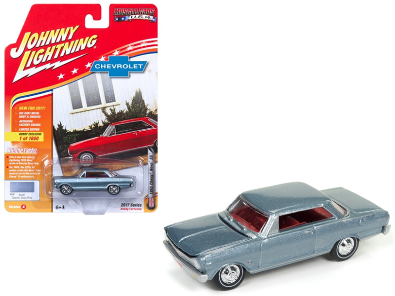 1965 Chevrolet Nova SS Gray 1:64 Diecast Limited Edition to 1800pc Worldwide - Johnny Lightning - JLMC010-24B