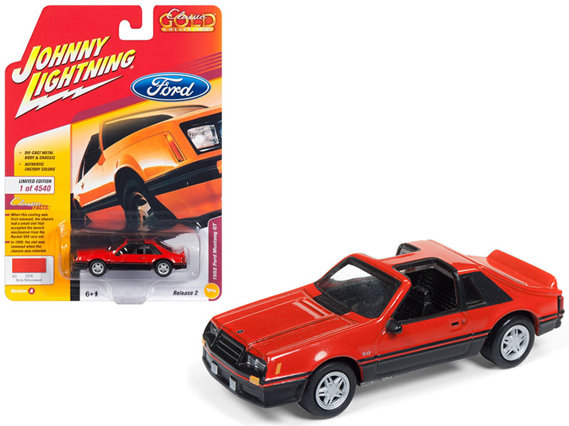 1982 Ford Mustang GT 5.0 Brite Orange 1:64 Model Limited Edition to 4,540 pieces Worldwide - Johnny Lightning JLSP013-24A