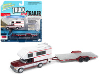1993 Ford F-150 Red with White Camper and Trailer 1:64 Model