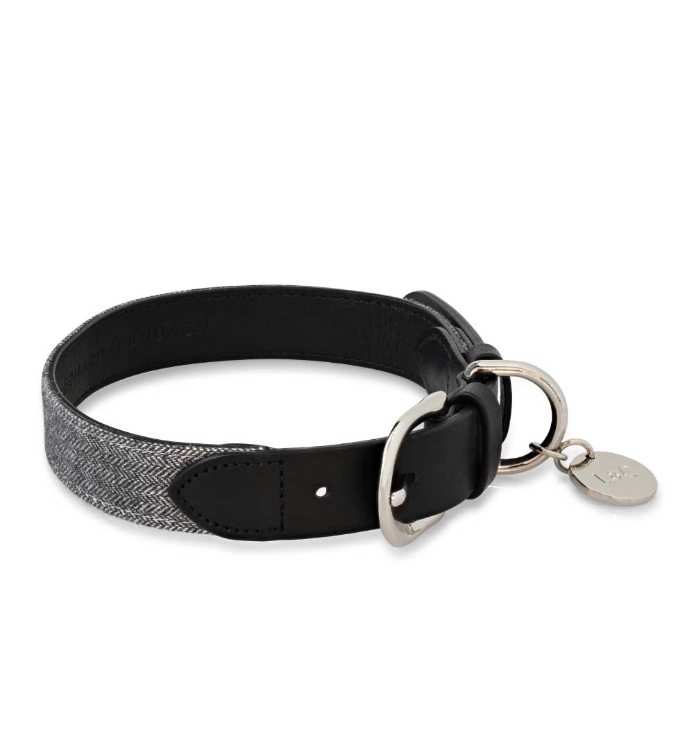 Signature Black Tweed Dog Collar