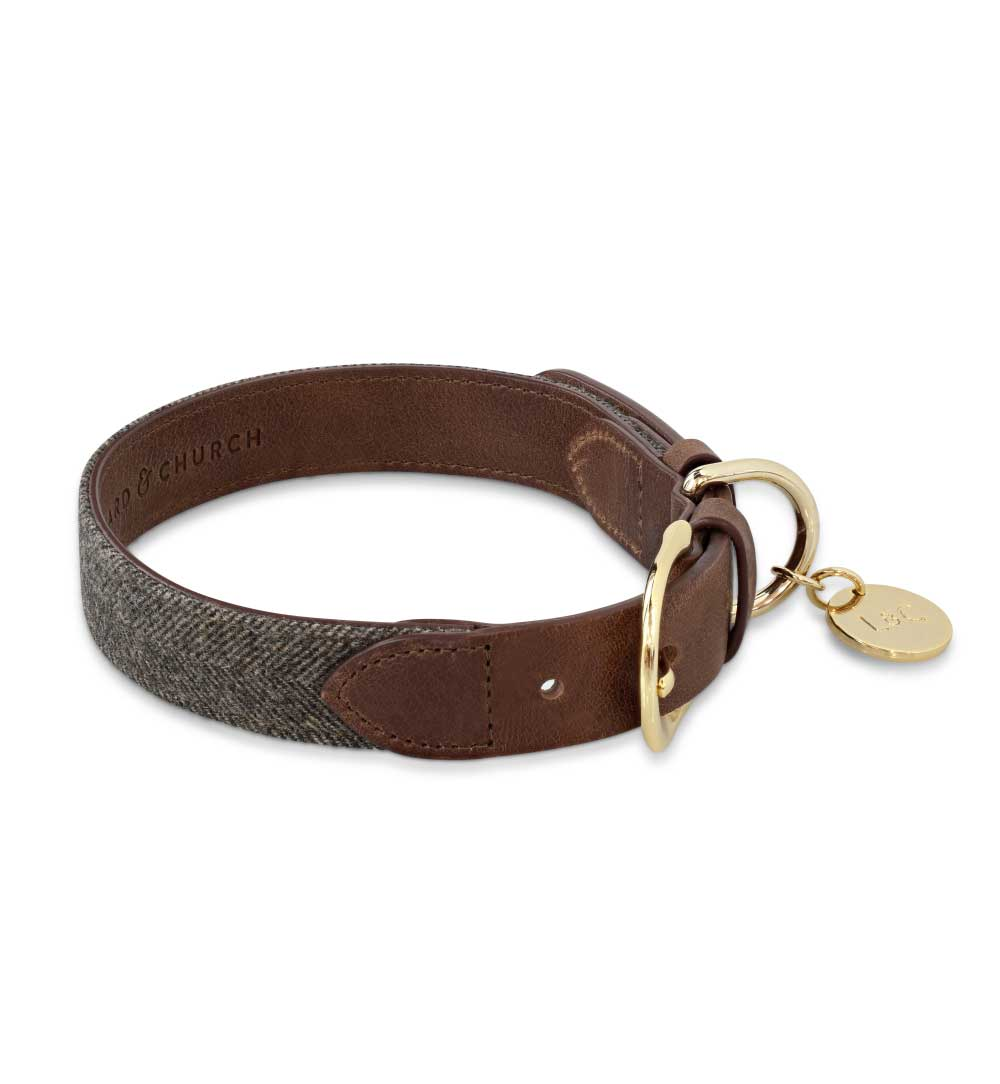 Signature Brown Tweed Dog Collar