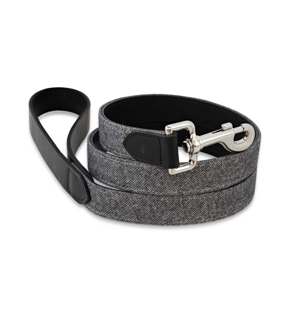 Signature Black Tweed Dog Leash