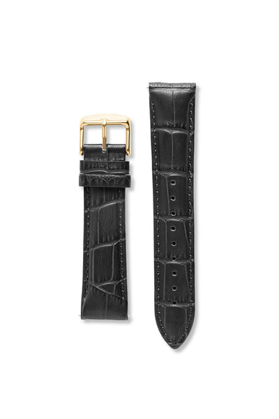 Crocodile Pattern Leather Black / Gold Strap