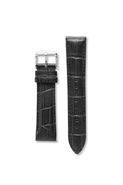 Crocodile Pattern Leather Black / Silver Strap