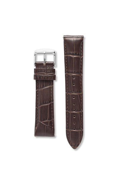 Crocodile Pattern Leather Brown / Silver Strap