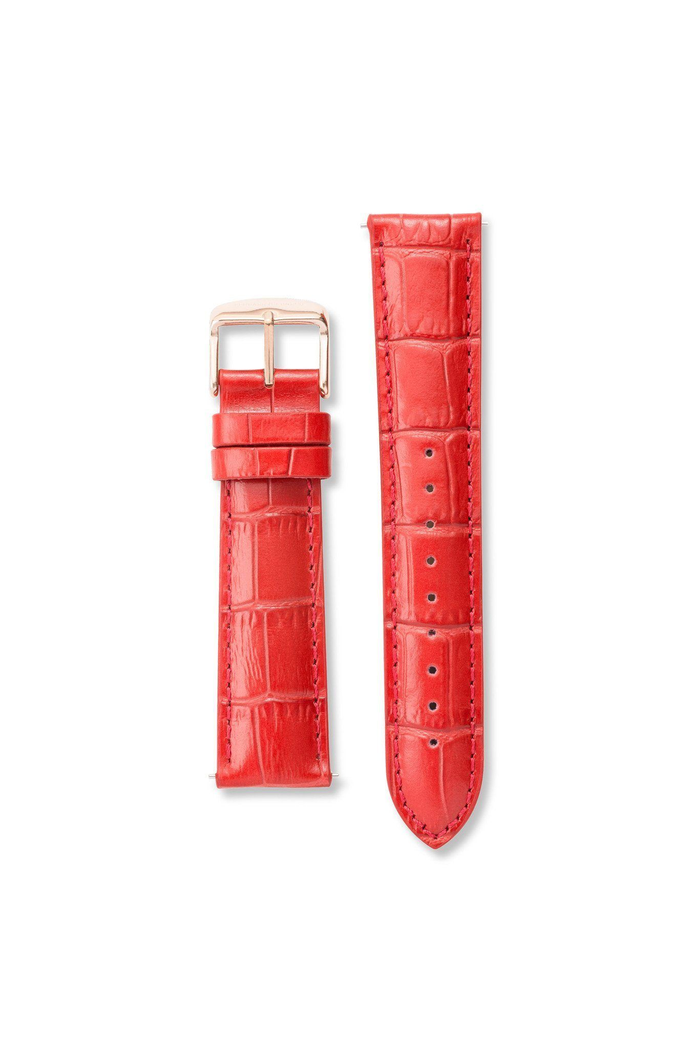 Strap - Crocodile Pattern Leather Red / Rose Gold Strap