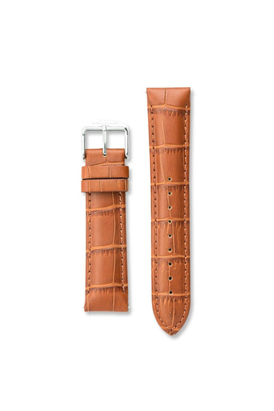 Crocodile Pattern Leather Tan / Silver Strap