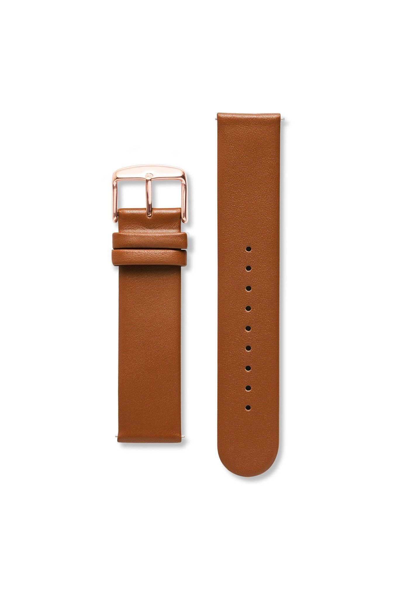 Strap - Genuine Leather Non-Stitch Brown/Rose Gold Strap