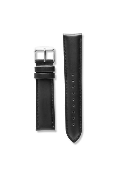 Genuine Natural Leather Stitch Black / Silver Strap