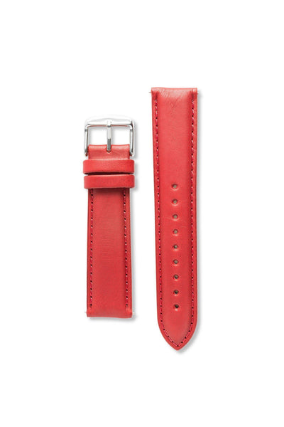 Genuine Natural Leather Stitch Red / Silver Strap