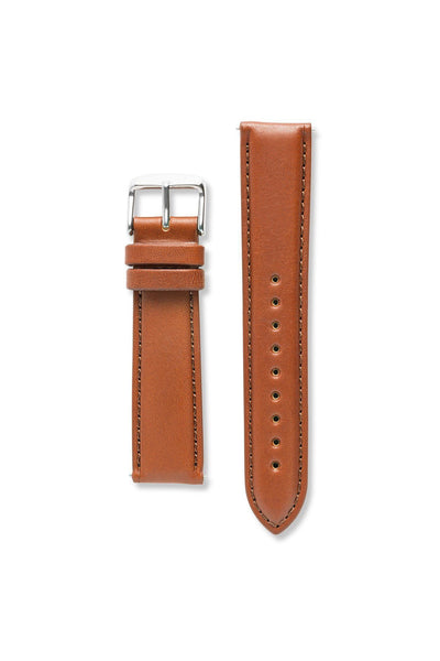 Genuine Natural Leather Stitch Tan / Silver Strap