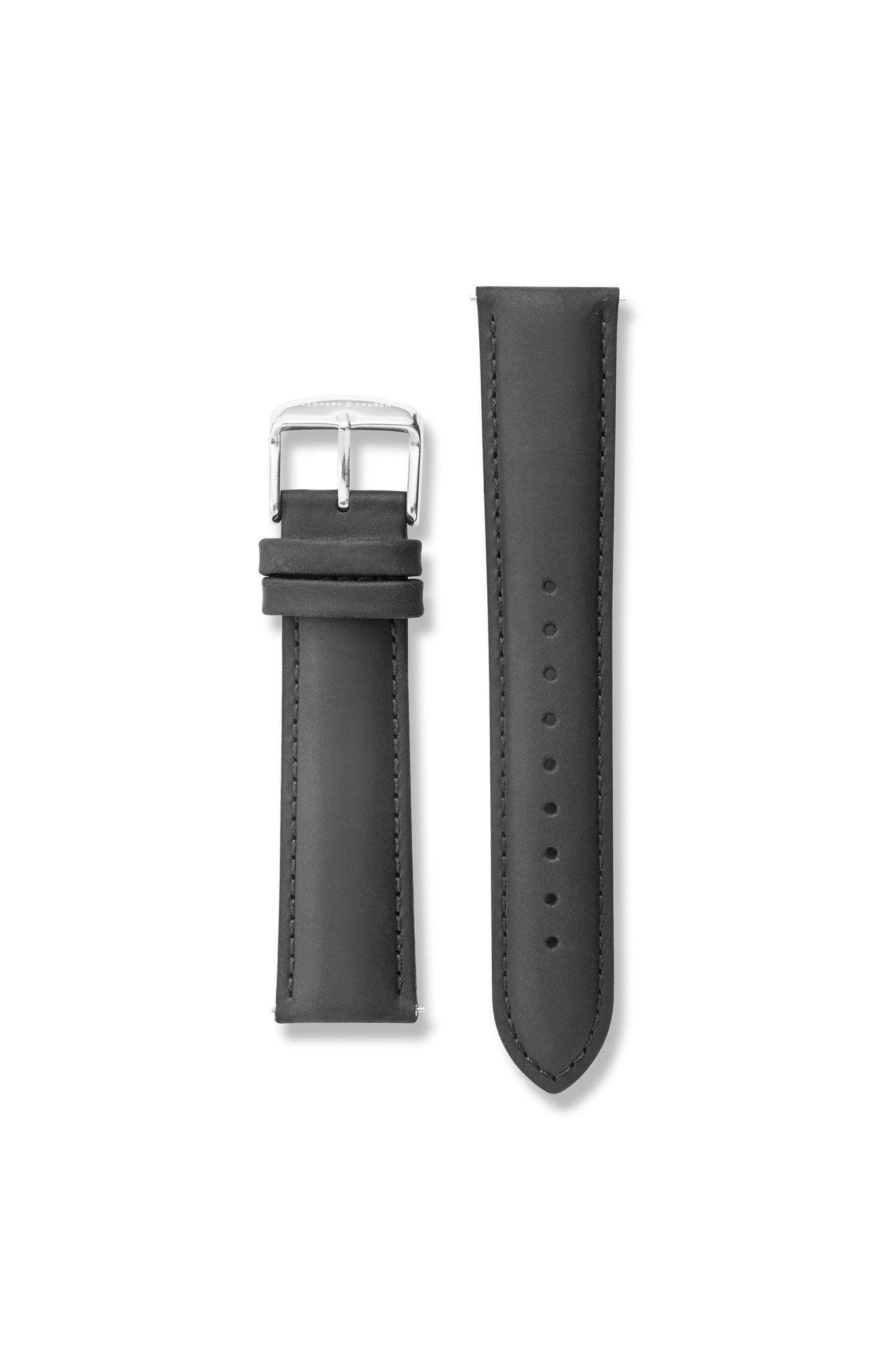 Strap - Suede Leather Black / Silver Strap