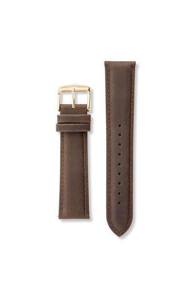 Suede Leather Dark Brown / Gold Strap