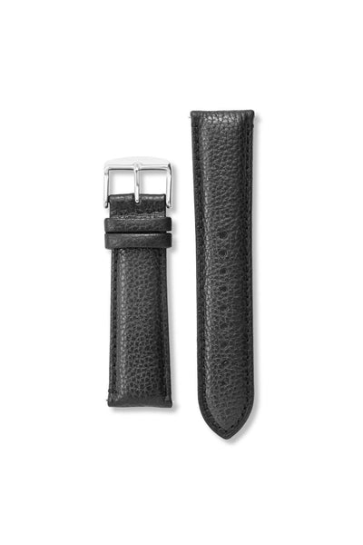 Textured Genuine Leather Black / Silver Strap