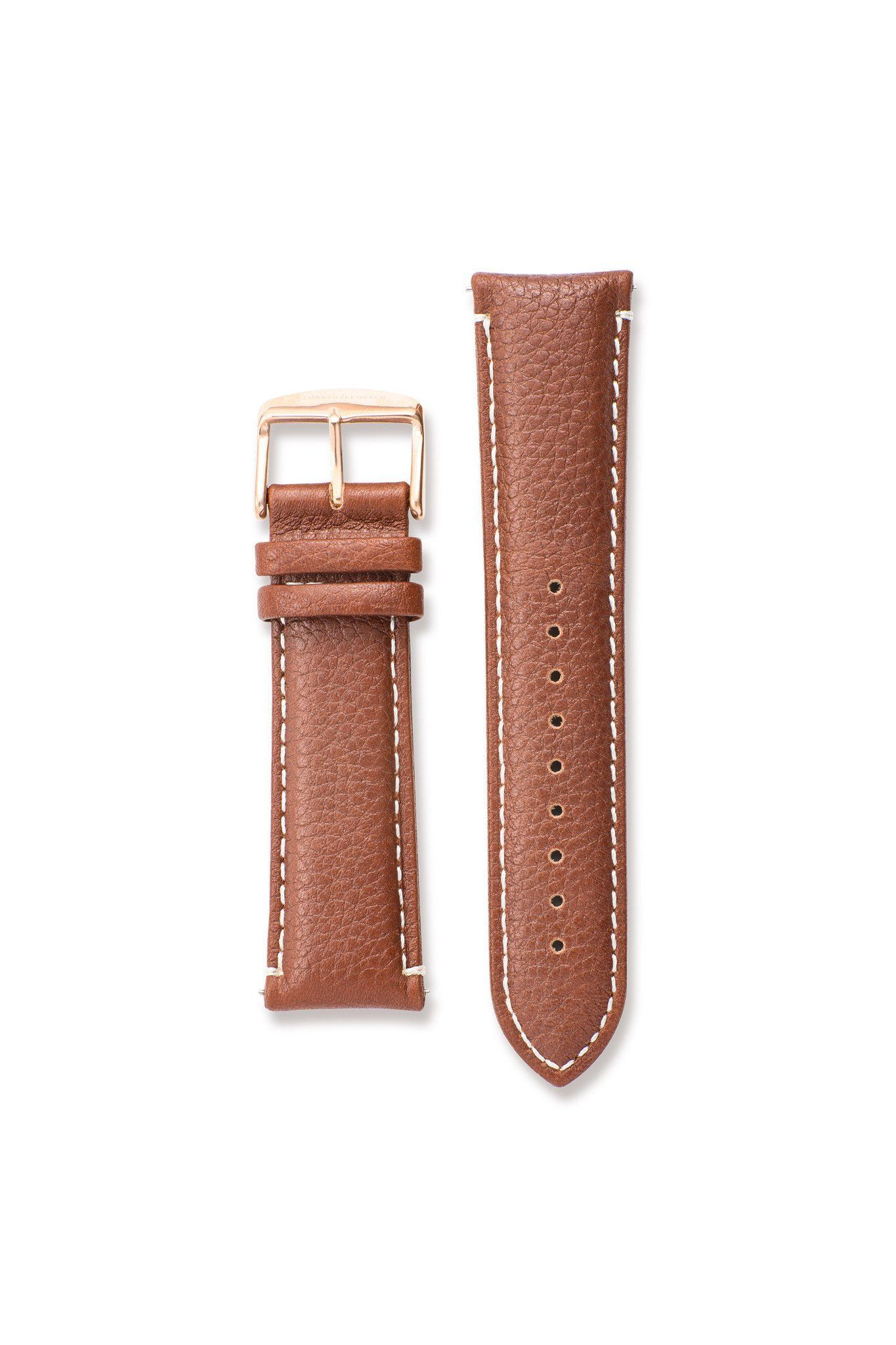 Strap - Textured Genuine Leather Brown / Rose Gold Strap