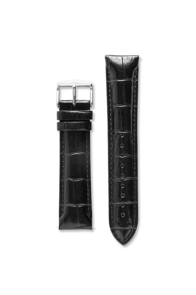 Wide Crocodile Pattern Leather Black / Silver Strap