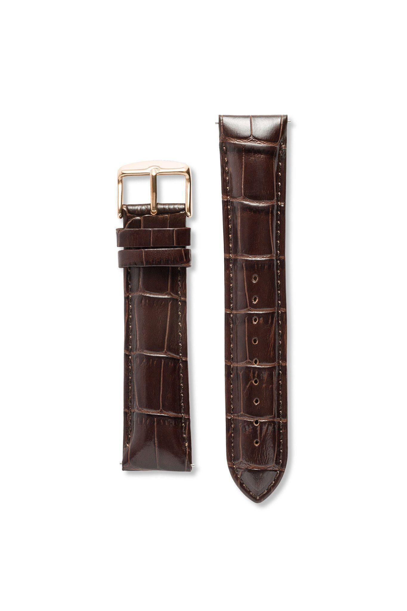 Strap - Wide Crocodile Pattern Leather Brown / Rose Gold Strap