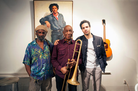 Dick Griffin, Tony Tixier & Santiago Performing at Jazz in Art Exhibit at Bishop Gallery