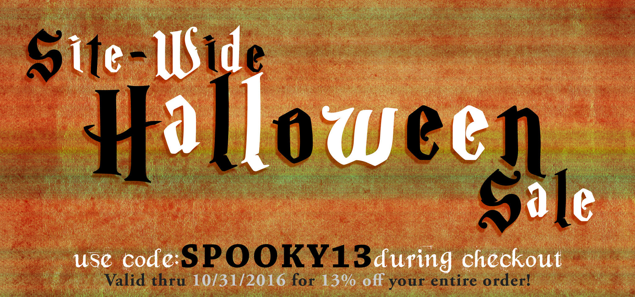 13% off Halloween Coupon!