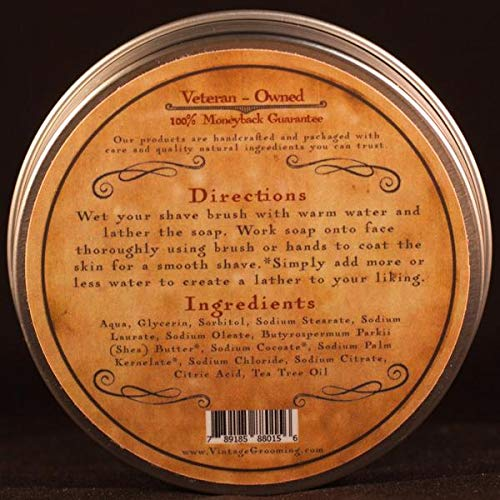 All Natural Tea Tree Shave Soap - African Black (4oz)