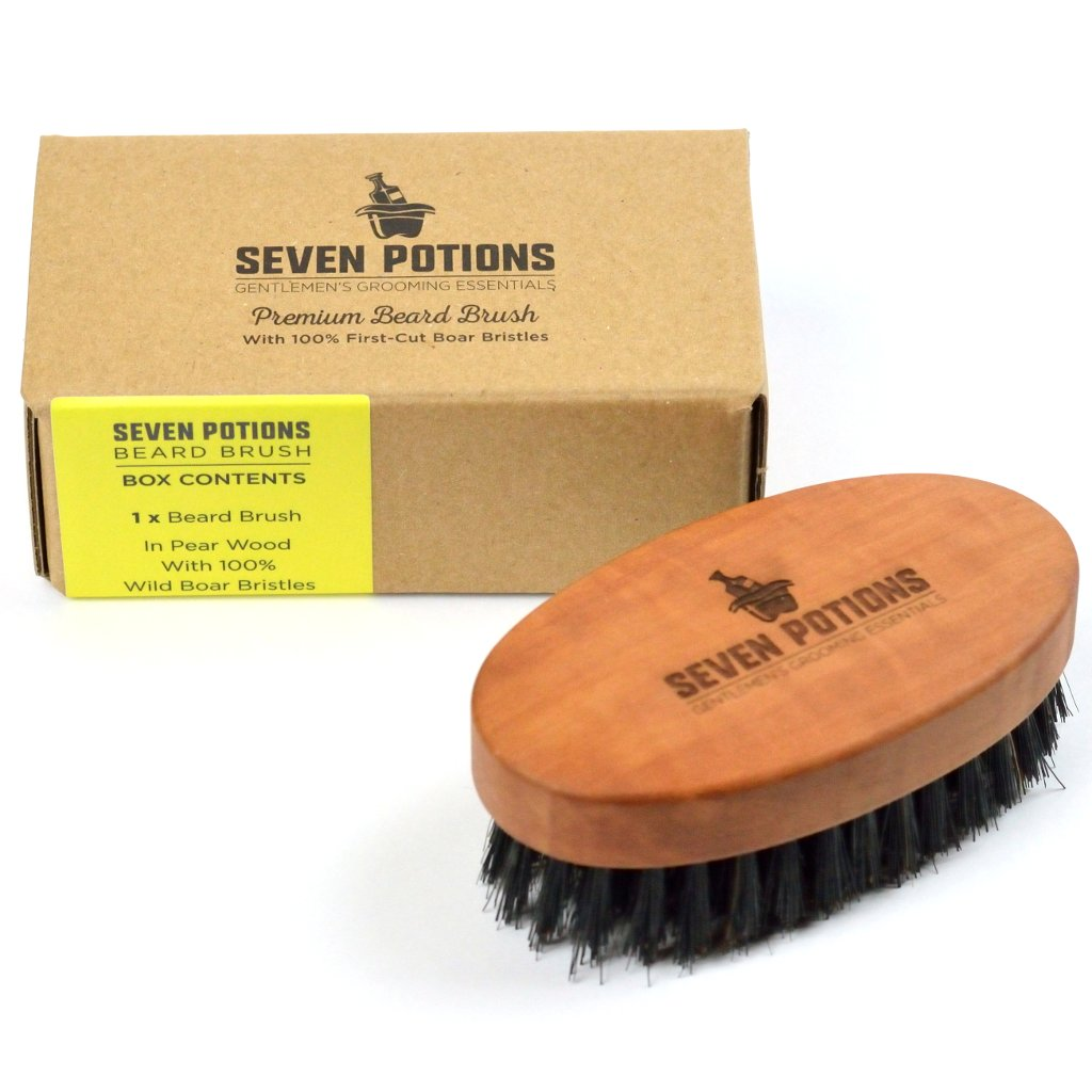 Seven Potions Firm Beard Brush - 100% Boar Bristles & Pear Wood.