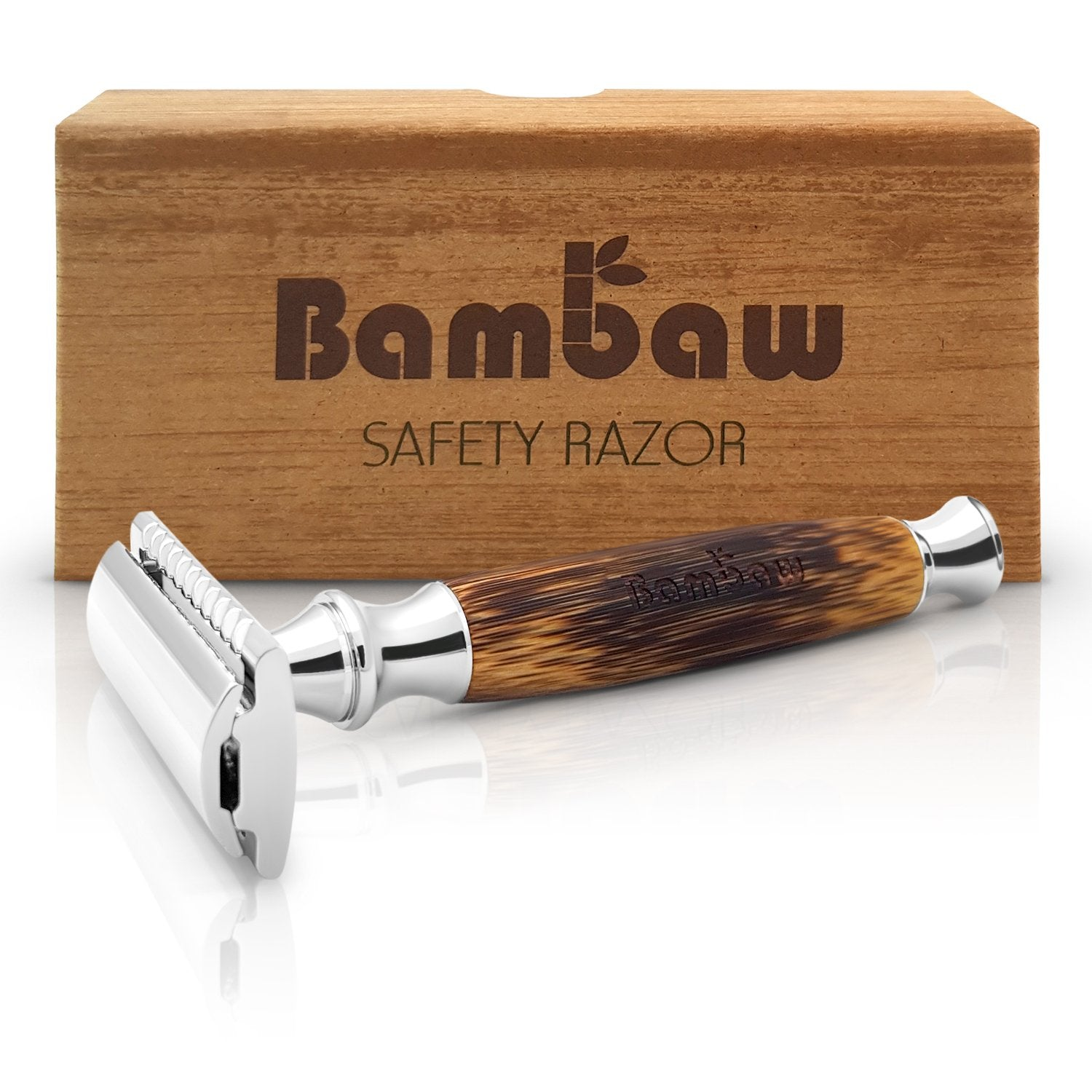 Double Edge Safety Razor with Long Bamboo Handle by Bambaw